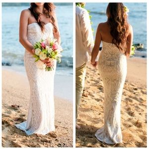 Lulus Olivia White Sequin Strapless Maxi Dress